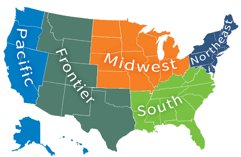 Five USA Regions Map